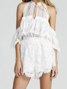 White Tie-neck Off the Shoulder Lace Top With Shorts