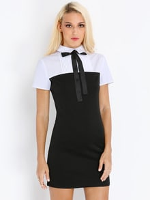 Black White Suiting Hipster Collars Short Sleeve Color Block Dress