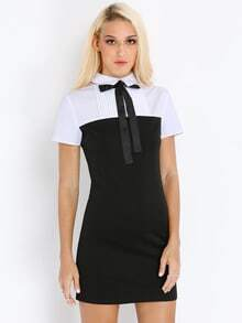 Black White Lacing Suiting Hipster Collars Short Sleeve Color Block Dress