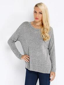 Grey Long Sleeve Color Block Sweater