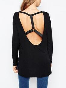 Black Long Sleeve Backless Split T-Shirt