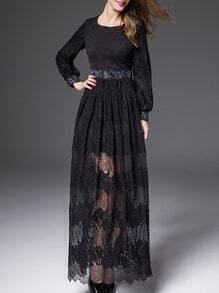Black Round Neck Long Sleeve Beading Lace Dress