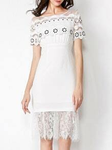 White Round Neck Short Sleeve Hollow Contrast Lace Dress