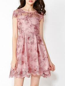 Pink Round Neck Short Sleeve Contrast Gauze Embroidered Dress