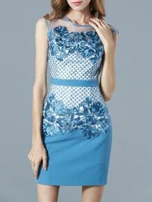 Blue Round Neck Sleeveless Contrast Gauze Embroidered Dress
