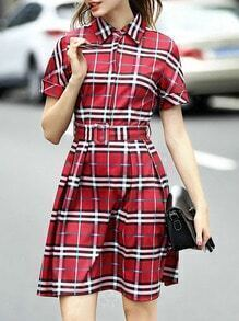Red Lapel Short Sleeve Check Print Drawstring Dress