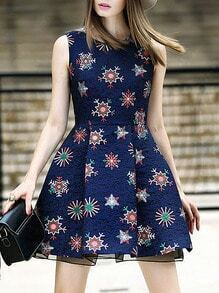 Navy Round Neck Sleeveless Jacquard Print Dress