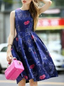 Navy Round Neck Sleeveless Flare Print Dress