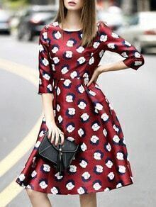 Red Round Neck Length Sleeve Print Dress