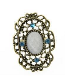 Vintage Aulic Style White Single Imitation Gemstone Big Stone Ring