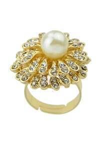 Imitation Pearl Rhinestone Big Flower Shape Rings For Women