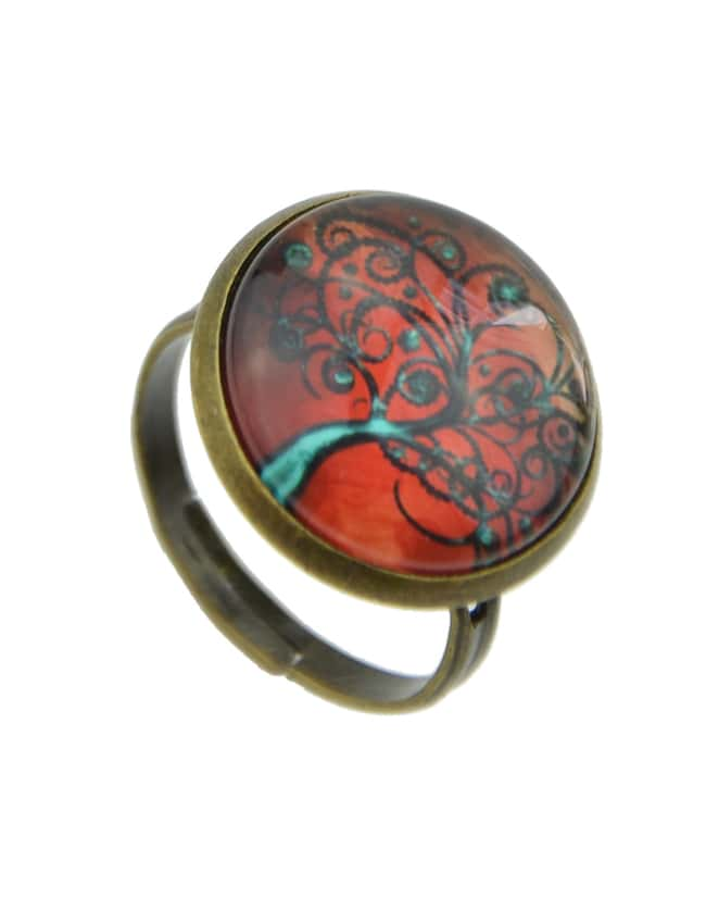 Red Amber Style Adjustable Tree Shape Rings For Women