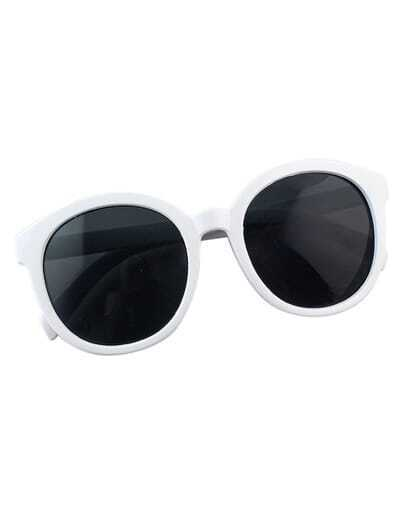 White Oversized Round Sunglasses
