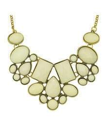 Beige Imitation Gemstone Chunky Statement Necklace