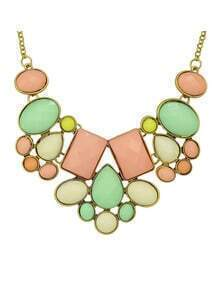 Colorful Imitation Gemstone Chunky Statement Necklace