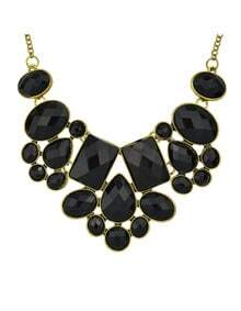 Black Imitation Gemstone Chunky Statement Necklace