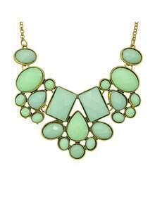 Green Imitation Gemstone Chunky Statement Necklace