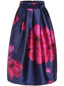 Blue Apricot Plum Flower Print Flare Skirt