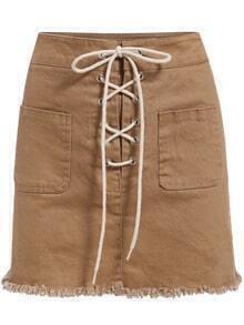Khaki Bandage Fringe Denim Skirt