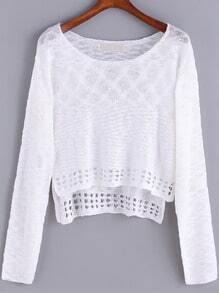 White Round Neck Hollow Crop Sweater