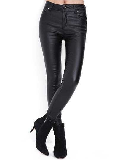 Black Skinny Pockets PU Pant