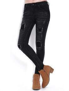Black Slim Patch Denim Pant