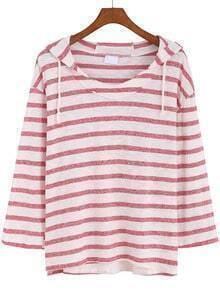 Red White Hooded Striped Loose Sweatshirt