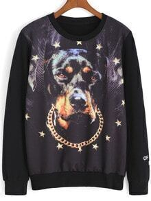 Black Round Neck Dog Stars Print Sweatshirt