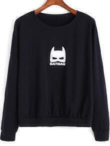Black Round Neck Batman Print Loose Sweatshirt