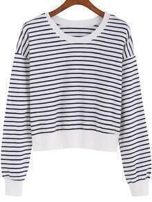 Black White Round Neck Striped Crop Sweatshirt