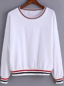 White Round Neck Striped Loose Sweatshirt