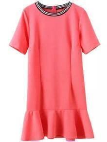 Red Contrast Collar Ruffle Slim Dress