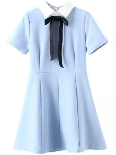 Blue Lapel Bow Embellished Flare Dress $26.00 AT vintagedancer.com