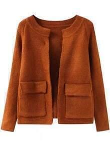 Khaki Long Sleeve Pockets Knit Cardigan