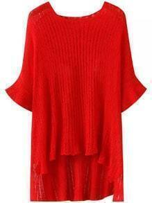 Red Round Neck Batwing Sleeve Dip Hem Sweater