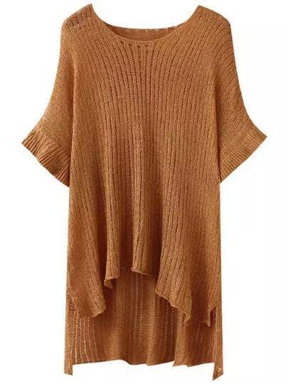 Khaki Round Neck Batwing Sleeve Dip Hem Sweater