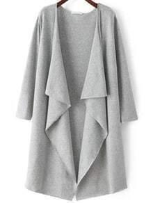 Grey Long Sleeve Loose Casual Cardigan