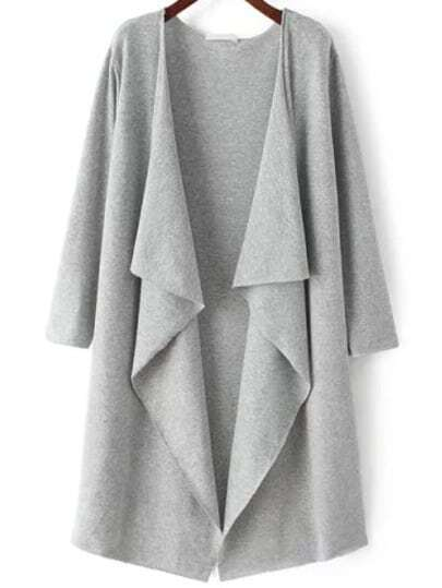Grey Long Sleeve Loose Casual Cardigan