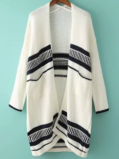 White Long Sleeve Striped Loose Cardigan