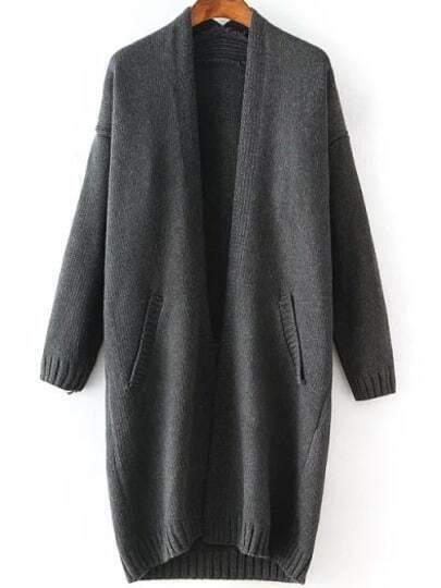 Dark Grey Long Sleeve Pockets Knit Loose Cardigan