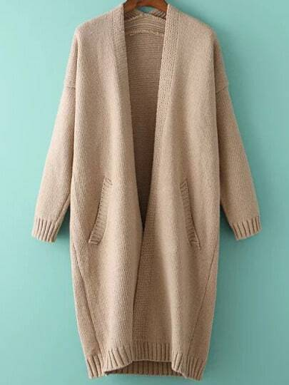 Apricot Long Sleeve Pockets Knit Loose Cardigan