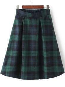Green Blue Elastic Waist Plaid Skirt