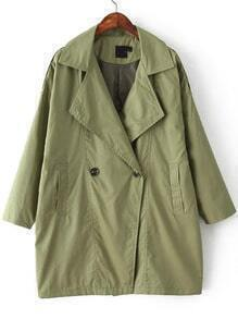 Green Lapel Loose Casual Trench Coat