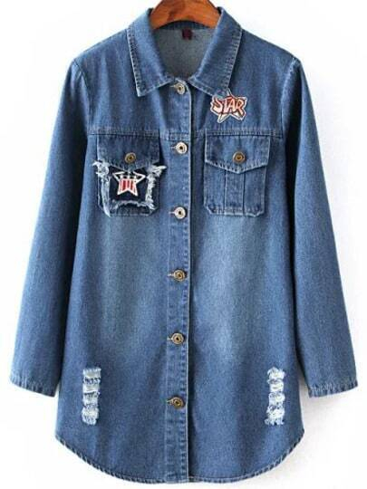 Blue Lapel Casual Ripped Embroidered Denim Coat