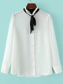 White Tie-neck Long Sleeve Loose Blouse