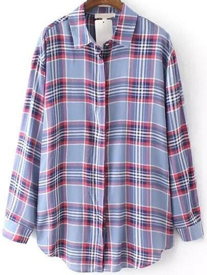 Purple Lapel Plaid Windowpane Loose Blouse