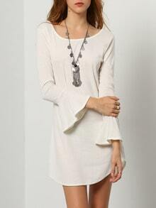 White Bell Sleeve Backless Slim Knit Dress