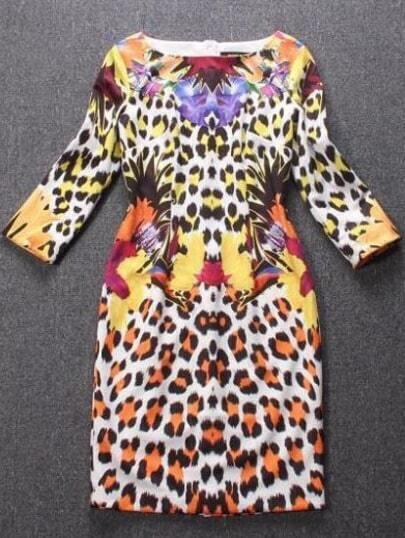 Multicolor Rund Neck Leopard Print Bodycon Dress