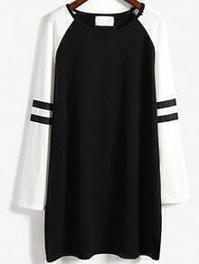 Colour-block Round Neck Loose Dress