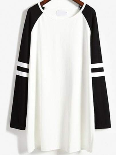 Colour-block Round Neck Loose Casual Dress
